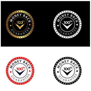 Set Of Four 100% Money Back Guarantee Emblem Seals Vector
