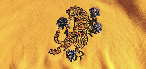 Tiger embroidery on a sweatshirt.