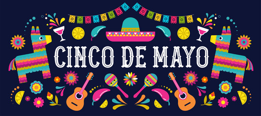 Cinco de Mayo - May 5, federal holiday in Mexico. Fiesta banner and poster design with flags, flowers, decorations Wall mural