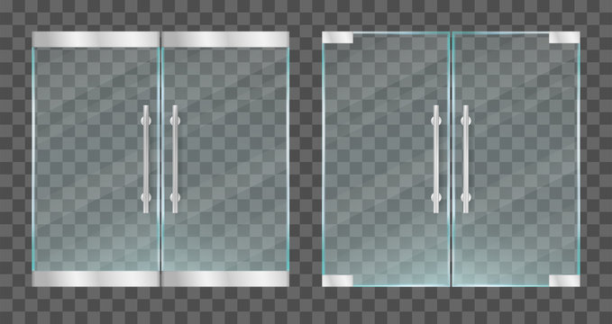 Realistic transparent glass doors with metallic handles. Vector illustration.