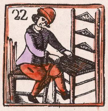 C17 Chair Maker Woodcut
