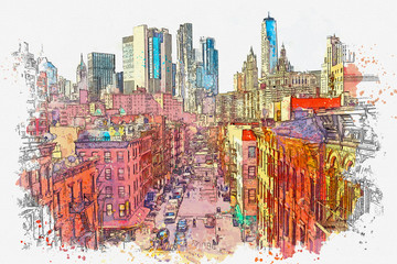 Watercolor sketch or illustration of a beautiful view of the street in Chinatown in New York in the USA. Everyday city life