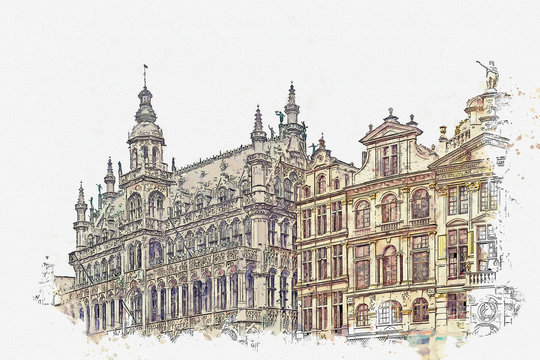 Watercolor sketch or illustration of a beautiful view of the architecture on the Grand Place in Brussels in Belgium. Traditional European architecture or buildings