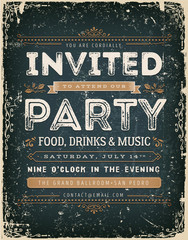 Vintage Invitation Sign On Chalkboard/ Illustration of a vintage chalkboard background with invitation message to a party, with floral patterns, grunge texture and hand-drawned corners