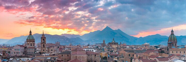 Aluminium Prints Palermo Palermo at sunset, Sicily, Italy