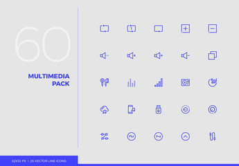 Vector Line Icons Multimedia Pack