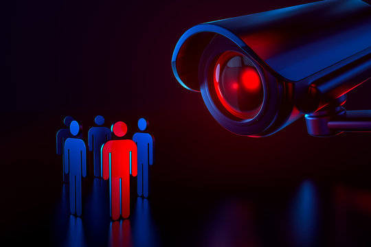 Big cctv as a metaphor of surveillance system picking a person and checking his personal data in security system concept. Big brother is watching you concept. 3D rendering