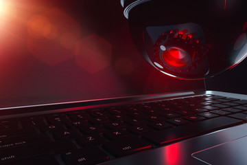Dome cctv and keyboard in close up shot. Artificial Intelligence and possible threats concept. 3d rendering