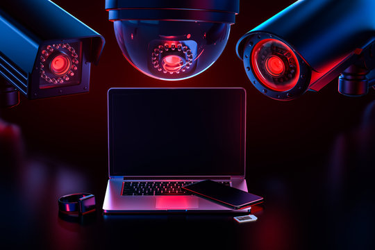 Cyber safety and data leakage concept: computer and other devices observed by hostile looking cctv's. 3D rendering