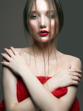 young beautiful sexy woman in red