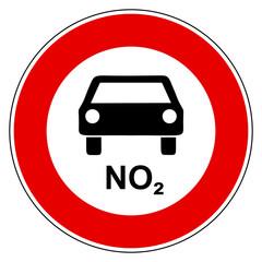 NO2 Auto und Verbotsschild