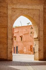 Empty street through a gate in Marrakech, Morocco