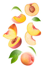 Falling peach isolated on white background