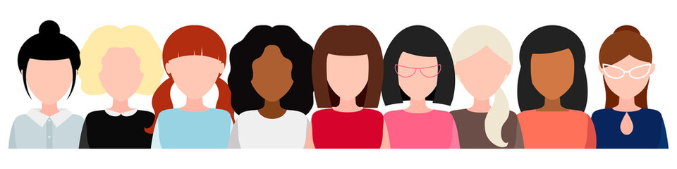 group of women without face, social movement, empowerment of women. concept of feminism, power girls. Vector