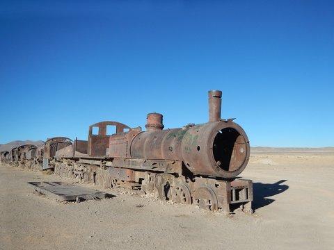 Rusty Old train from the train cemetery, in Uyuni, Bolivia.