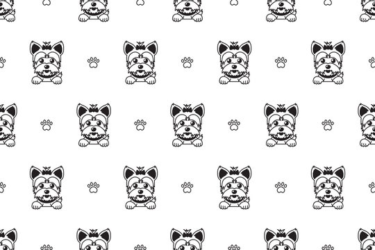 Cartoon vector character yorkshire terrier dog seamless pattern for design.
