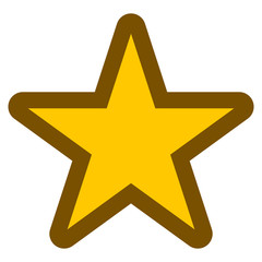 Star symbol icon - golden simple with outline, 5 pointed rounded, isolated - vector