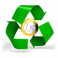 one euro coin inside symbol recycle