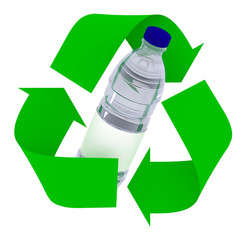 plastic bottle inside symbol recycle