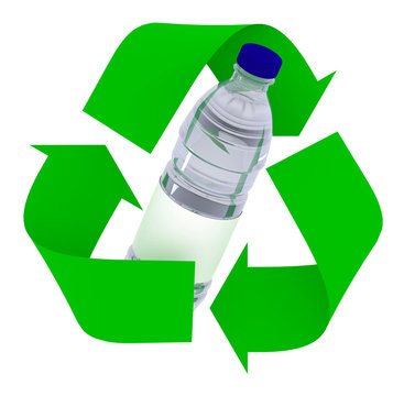 plastic bottle inside symbol recycle