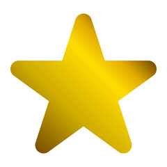 Star symbol icon - golden gradient, 5 pointed rounded, isolated - vector