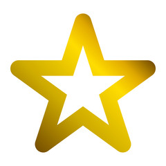 Star symbol icon - golden hollow gradient, 5 pointed rounded, isolated - vector