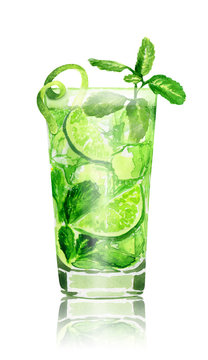 Hand drawn watercolor mojito cocktail on white background