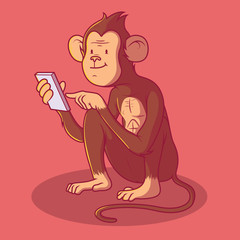 Monkey using a smartphone vector illustration. Communication, technology, social media, sharing, brand design concept