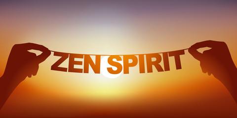 Concept du bien-être et de la tranquillité, avec deux mains qui tiennent une guirlande sur laquelle sont écrit les mots esprit zen, devant un ciel ensoleillé.