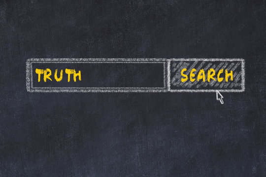 Chalk board sketch of search engine. Concept of looking for truth