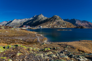 Totensee at the summit of the Grimsel Pass in the alps