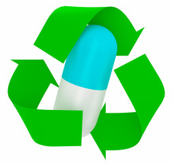 pill inside symbol recycle