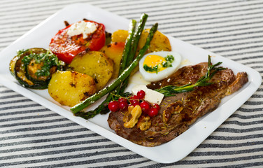 Veal with grilled vegetables