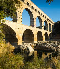 Famous landmark Roman Bridge Pont du Gard in southern France