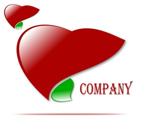 Drawing company logo of health and love, medicine.Vector company logo. Medicine, healthy heart, liver.