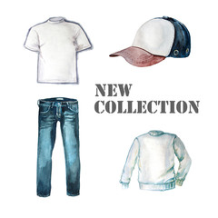 new collection of clothes.Blue Jeans, white t-shirt,jumper, cap isolated on white. Watercolor illustration
