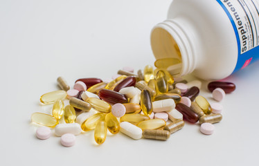 Vitamins, omega 3, cod-liver oil, dietary supplement and tablets