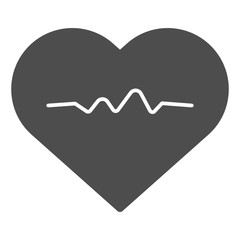 Heartbeat solid icon. Cardiogram vector illustration isolated on white. Heart pulse glyph style design, designed for web and app. Eps 10.
