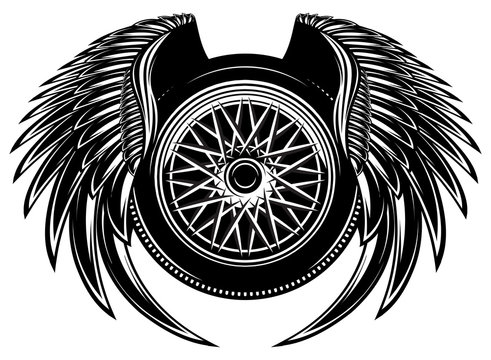 Vector monochrome pattern with wheel and wings.