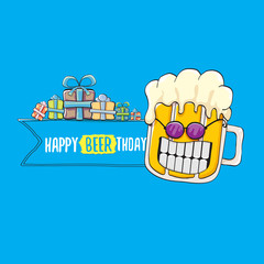 Happy Beerthday vector greeting card or print. Happy birthday party celebration poster with funky beer character and gifts