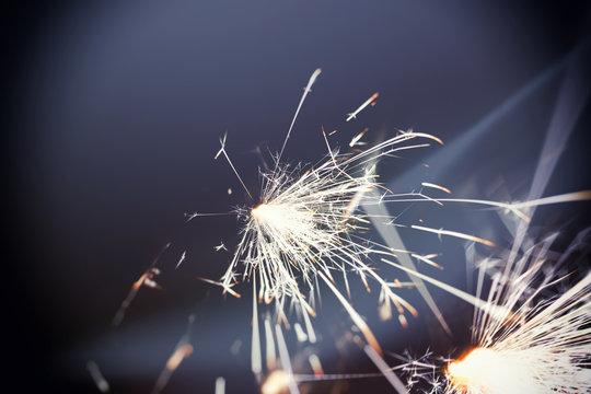 sparkler glowing in the dark