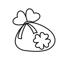 sack coins with clover saint patricks day