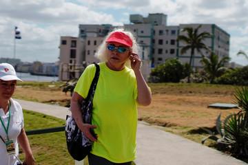 U.S. singer Debbie Harry of Blondie walks in the gardens of Hotel Nacional in Havana