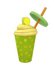 Zitronen Milchshake mit Strohhalm. 3d Render