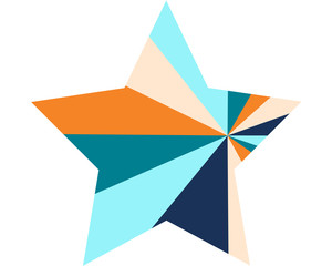large multi colored star in a modern style on a white background