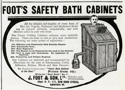 Advertisement for Foots SAfty BAth CAbinets 1912