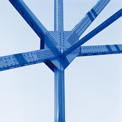Abstract steel girders i beams. Strong construction industry, connections, networks, hubs, technology concept.