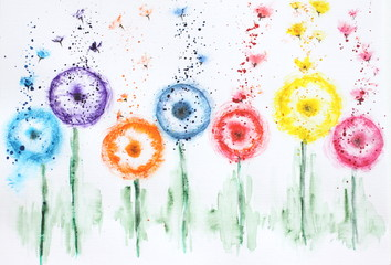 Watercolor picture flowers dandelions