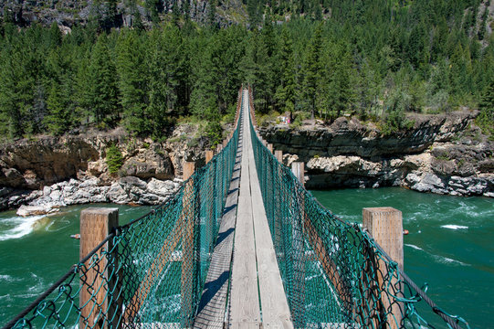 View of swinging bridge at Kootenai Falls
