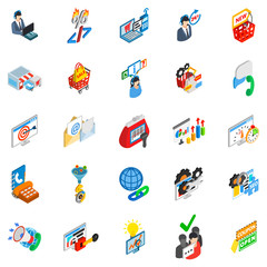 Online trade icons set. Isometric set of 25 online trade vector icons for web isolated on white background